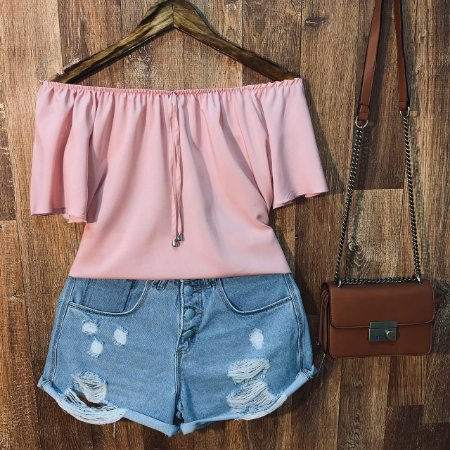 Blusa Ciganinha Manga Curta LB Fashion Rosê