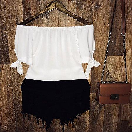 Blusa Ciganinha LB Manga Curta com Lacinho Branca