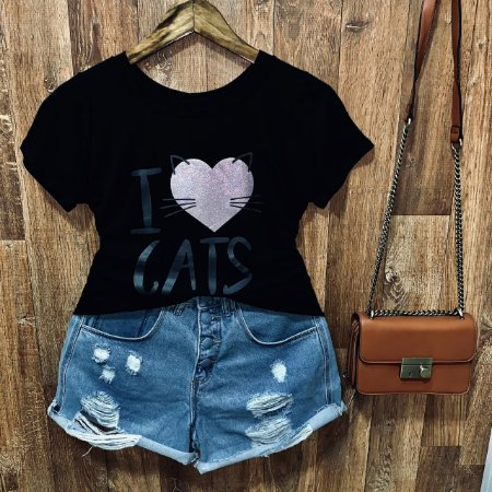 T-shirt I Love Cats com Glitter
