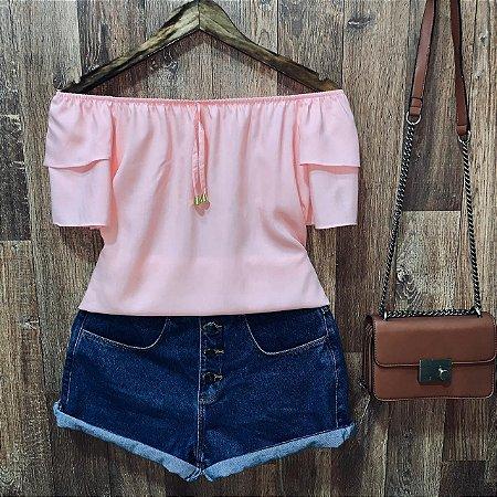 Blusa Ciganinha Dupla Manga Rosa