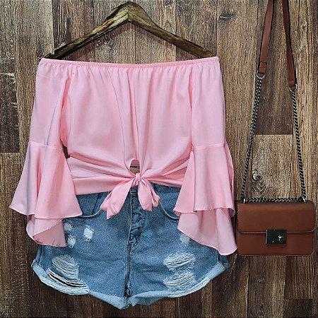 Blusa Ciganinha Cropped de Amarrar Rosa