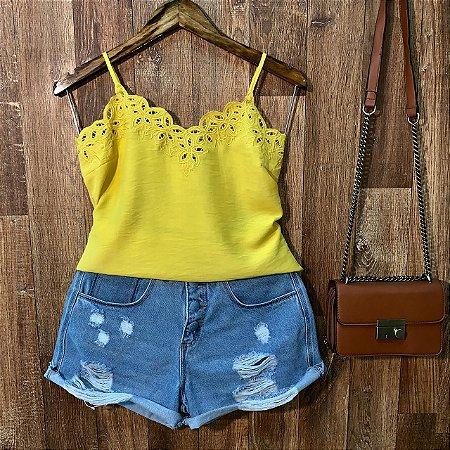 Blusa Alcinha com Renda Amarela