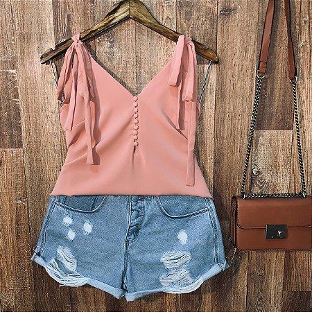 Blusa Alcinha com Botões Lacinho Fashion Rosa Antigo