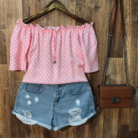Blusa Ciganinha Ombro Fashion Tropical Poá Rosa
