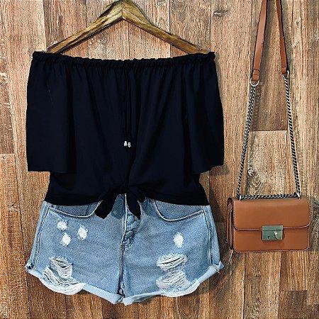 Blusa Ciganinha de Amarrar Cropped Top Black