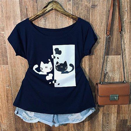 T-shirt Plus Size Gatinho Fofinho
