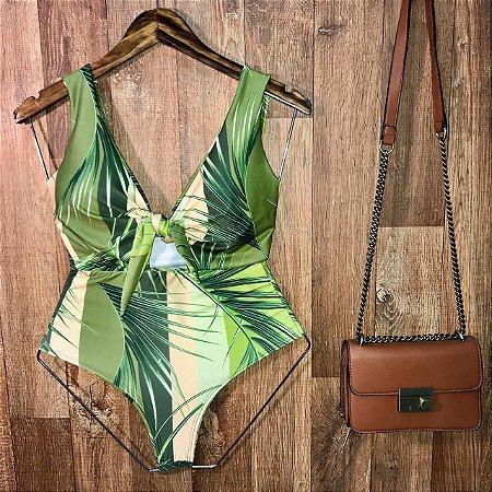 Body Regata Decote U com Bojo Ana Folhas Verde