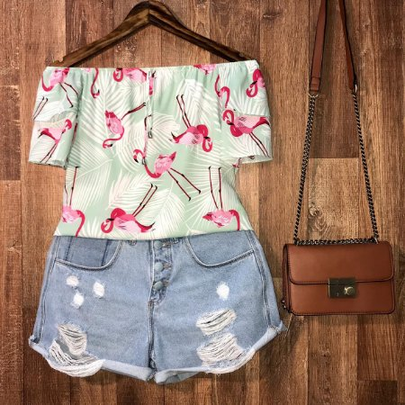 Blusa Ciganinha Dupla Manga Lohaine Flamingo Verde Mint