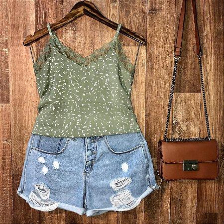 Blusa Alcinha com Rendinha Fashion Lohaine Verde