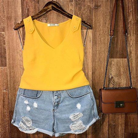 Blusa Regata Botões Falsos Lohaine Amarelo