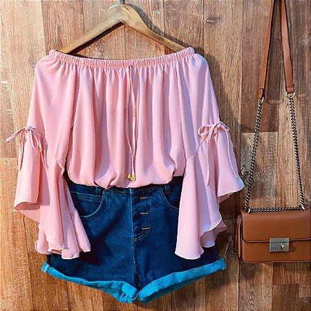 Blusa Ciganinha Manga 3 4 Lacinho Rosê