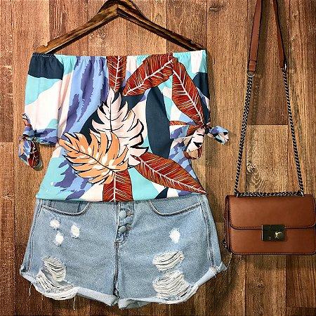 Blusa Ciganinha LB Manga com Lacinho Alana Floral Azul