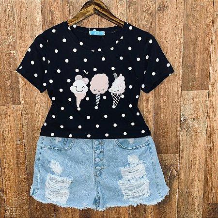 T-shirt Ice Cream Poá Black