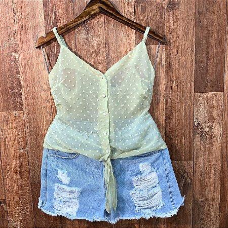 Blusa Alcinha Transparente com Botões Jade Verde Mint