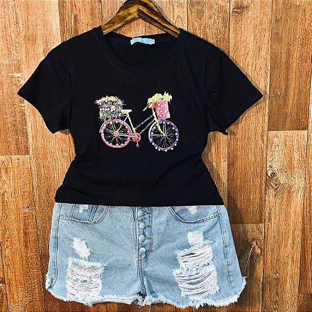 T-shirt Bicicleta com Perolas Black