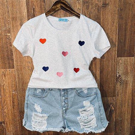 T-shirt Corações Bordada Cinza