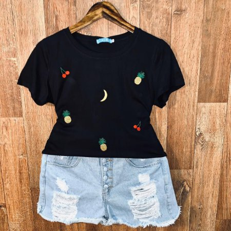 T-shirt Frutinhas Bordada Black
