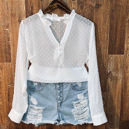 Camisa Transparente Chiffon com Babado Tatiana Branco