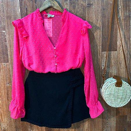 Camisa com Botões Encapados Monalisa Pink