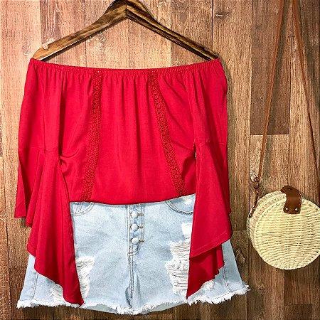 Blusa Ciganinha Manga 3|4 Renda Vermelho