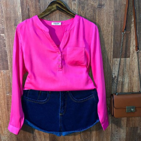Camisa com Decote Dayane Pink