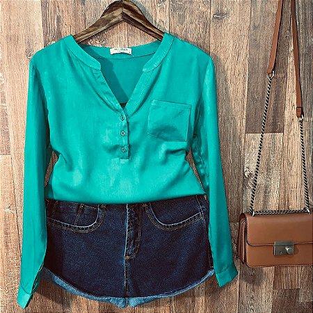 Camisa com Decote Dayane Verde Claro