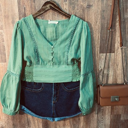 Blusa Cropped Laise Dayane Verde