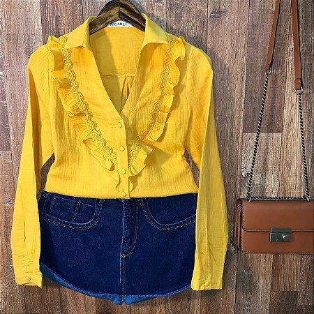 Camisa Babado e Guipir Dayane Amarelo