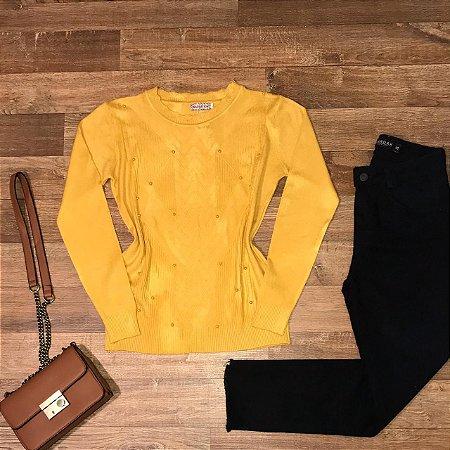 Blusa Tricot Modal Texturizado e com Pérolas Rute Mostarda