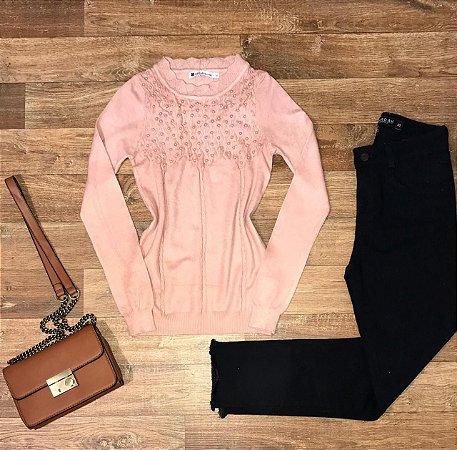Blusa Tricot Modal com Texturas e Pérolas Milão Rosê