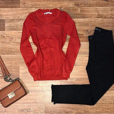 Blusa Tricot Modal com Texturas e Pérolas Milão Vermelho