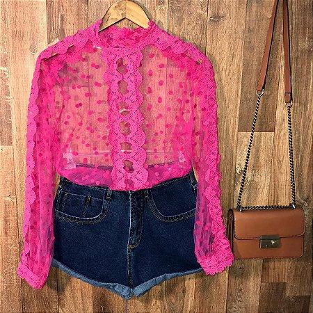 Blusa de Tulê Poá e Guipir Transparente Milão Pink