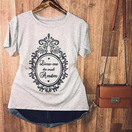 Camiseta Moldura Livra-me do Mal Amém