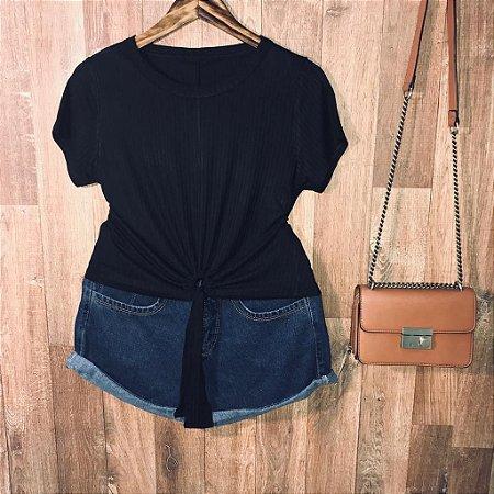 Blusa Cropped Canelada com Detalhe Black