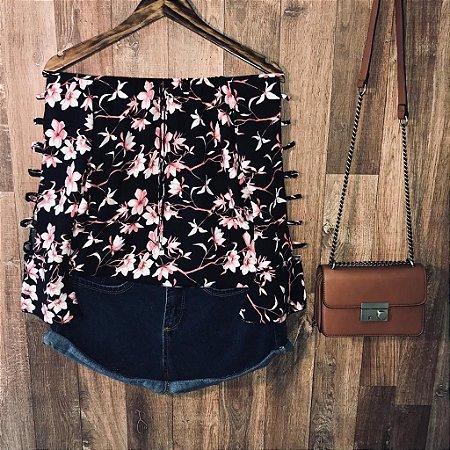 Blusa Ciganinha Manga Vazada LB Milão Floral Black