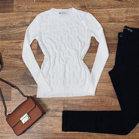 Blusa Tricot Modal Gola Redonda com Textura Sarah Branco