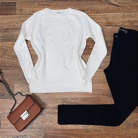 Blusa Tricot Modal  com Textura Fashion Sarah White