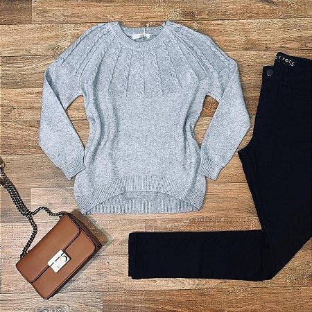 Blusa Tricot Modal  com Textura Top Sarah Cinza