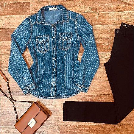 Camisa Jeans Listrada Azul