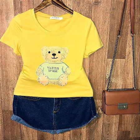 T-shirt Top Ursinho Fofo Amarela