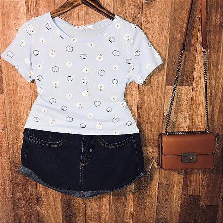 T-shirt Fashion Bichinhos Estampa Dupla Azul Claro