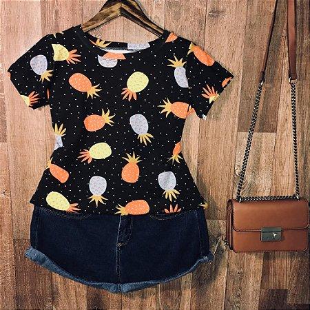 T-shirt Fashion Abacaxi Poá Estampa Dupla Black