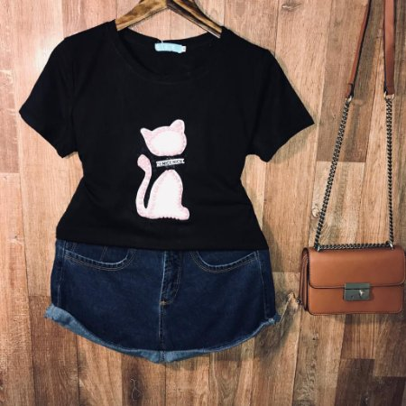 T-shirt Top Gatinha Black