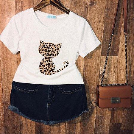 T-shirt Top Cat Animal Print Cinza Claro