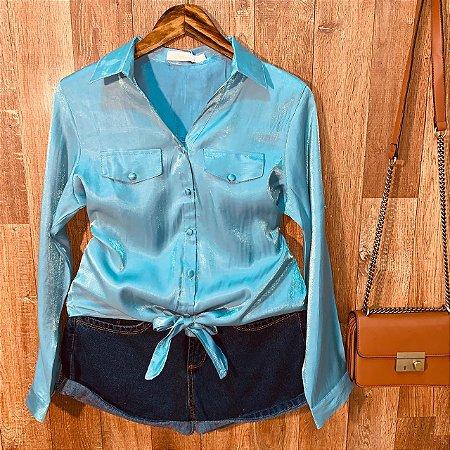 Camisa Lisa Cetim de amarrar Sarah Azul
