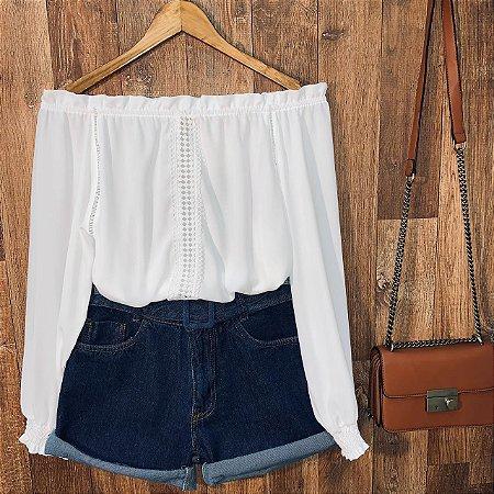 Short Jeans Cintura Alta com Cinto Azul Escuro