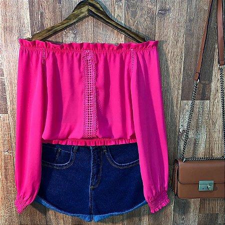 Blusa Ciganinha Cropped com Guipir Pink