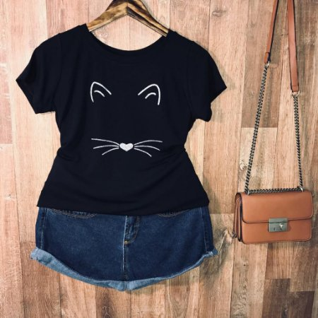 T-shirt Face Cat com glitter