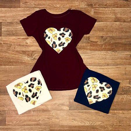 T-shirt  Coração Animal Print com gliter