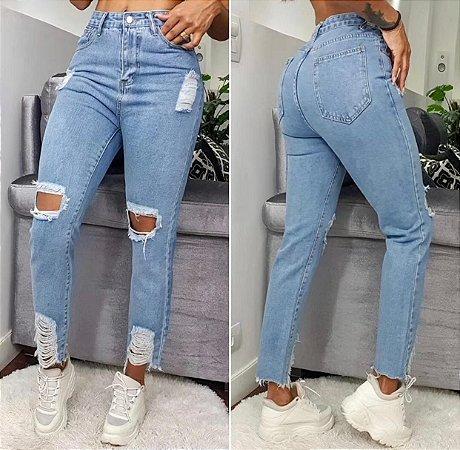 Calça Jeans Mom Destroyed Azul Claro